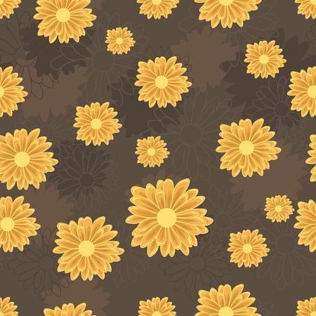 Seamless pattern with orange daisy flowers on dark ocher background with lined and colored flower silhouettes