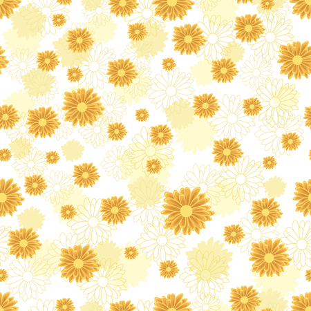 Seamless pattern with orange daisy flowers on white background