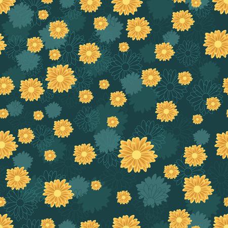 Nahtloses Muster mit orangefarbenen Gänseblümchen-Blumen auf blauem Hintergrund