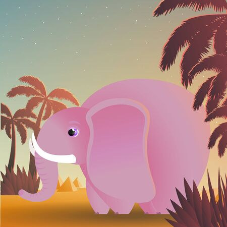 Vector illustration of elephant with starry sky, palms and sands. Single pink elephant in an oasis