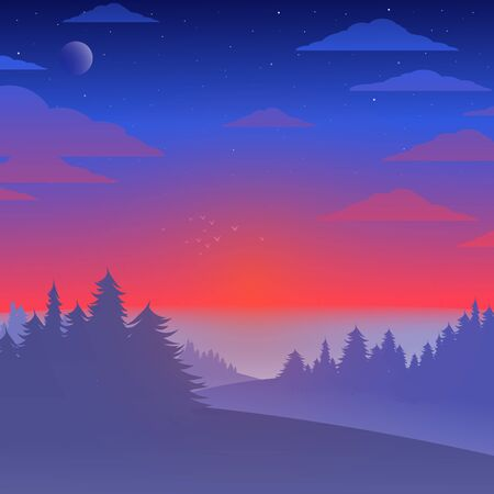 Vector landscape with sunrise, clouds, trees, starry sky and the moon. Illustration with wildlife view at the end of the night with stars, moon, fog and forest at the hills