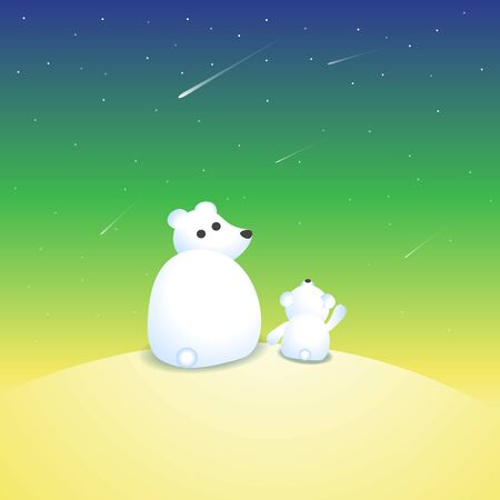Vector illustration with two polar bears watching at shooting stars. Animal illustration with two white bears Illustration