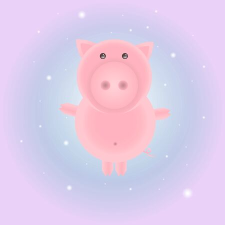 Vector illustration of a cute little pig. Cartoon piggy for web-design, printing, textile, wrapping paper