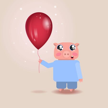 Vector illustration of cheerful little pig with big red balloon and sparkles for printing, web-design, textile, wrapping paper