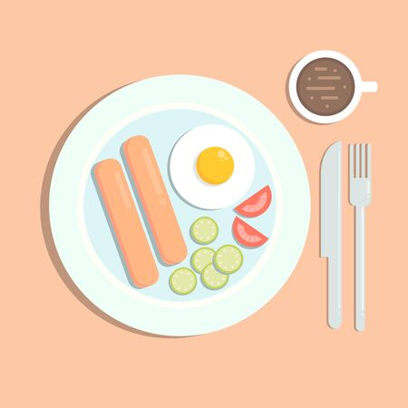 Flat styled illustration of a meal with fried egg, sausages, a cup of coffee, a fork and a knife.