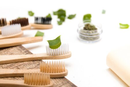 green slice of aloe on a bamboo toothbrush, tooth brushing concept, environmental materials, no plastics, recycling concept, against environmental pollution