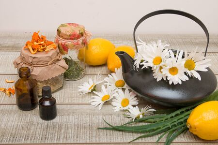 teapot with daisies and various herbal teas in jars for the prevention of colds in the fall season, lemon, aloe, orange zest, copy space