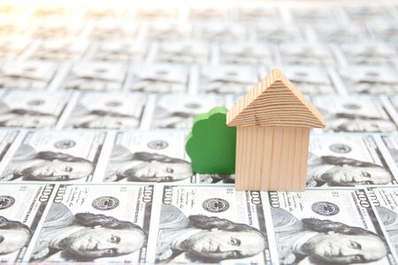 wooden toy house and bush on the background of 100 dollar bills laid out on a table, real estate purchase concept