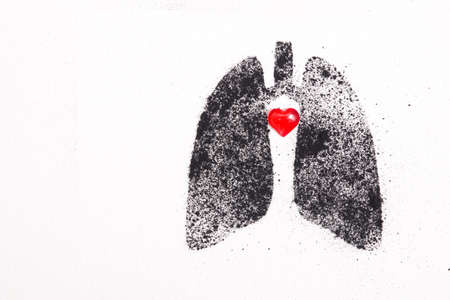 silhouette of human lungs from coal dust on a white background, lungs from pieces of coal and a small red glass heart, health care concept, respiratory diseases, copy space