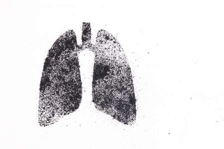 silhouette of human lungs from coal dust on a white background, lungs from pieces of coal, health care concept, respiratory diseases, copy space, harm of smoking