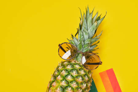rainbow flag and pineapple in sunglasses on yellow bright background copy space, community symbol copy space