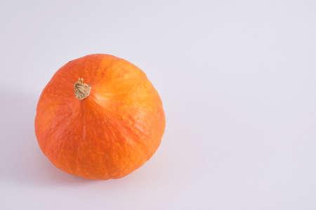 orange pumpkin on gray background copy space top view autumn, autumn season concept Banco de Imagens