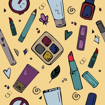 hand-drawn vector pattern with cosmetics: eye shadows, mascara, lipstick and others