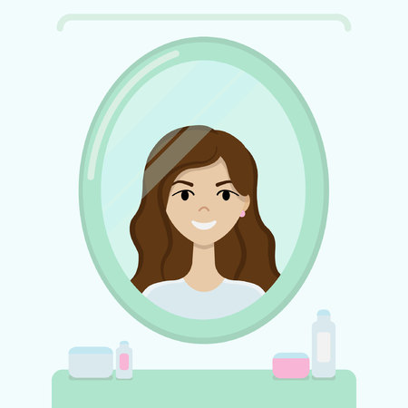 Young girl with brown hair smiles and looks in the mirror in the green bathroom Illustration
