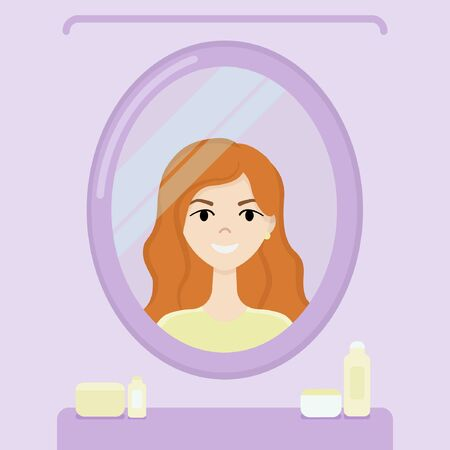 Young girl with red hair smiles and looks in the mirror in the lilac bathroom Ilustração
