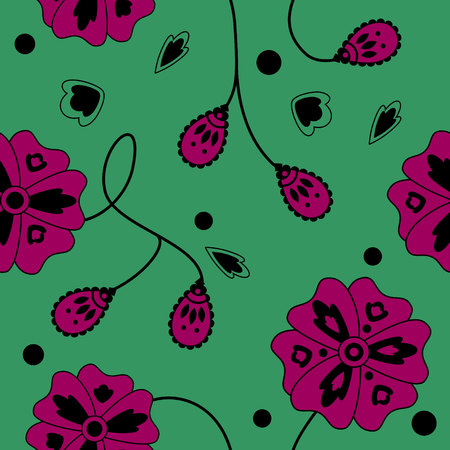 Simple oriental pattern. Fantasy flowers and twigs on a bright background