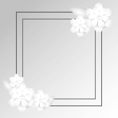 Double gray rectangular frame. In the corners are small compositions of paper flowers