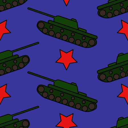 Bright print with tanks and red stars. Seamless pattern Иллюстрация