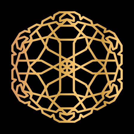 Hexagon tile with oriental motif. Gold gradient with metallic luster 向量圖像