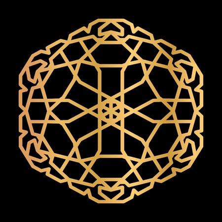 Tuile hexagonale avec motif oriental. Dégradé d'or avec éclat métallique