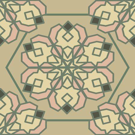 Hexagon tile with oriental motif. Calm colors
