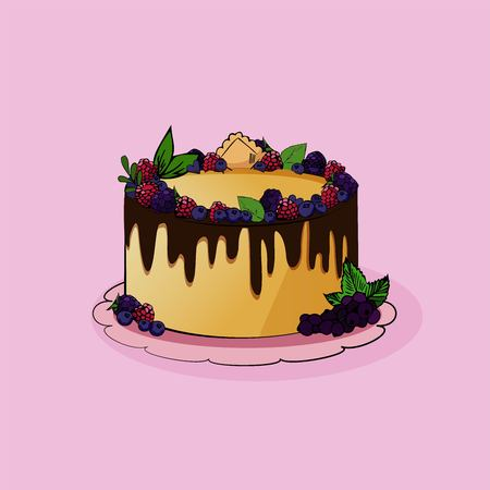 Vector illustration. Big cake with berries and chocolate