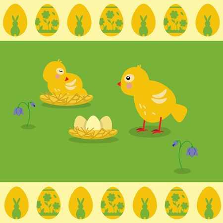 Little chicken walks in the clearing. The nestling sleeps in the nest. Eggs in the nest
