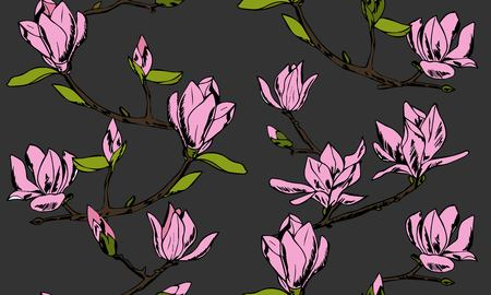 Vector seamless pattern. Ornament of twigs of magnolia flowers