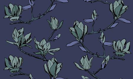 Modèle sans couture de vecteur. Ornement de brindilles de fleurs de magnolia Vecteurs