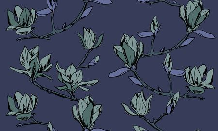 Vector seamless pattern. Ornament of twigs of magnolia flowers Vektorové ilustrace