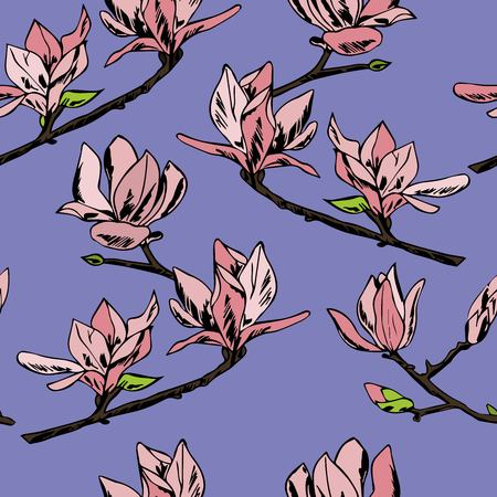 Flowering branch with flowers and buds. Fragrant and tender magnolia