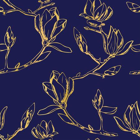 Flowering branch with flowers and buds. Fragrant and tender magnolia Vector Illustration