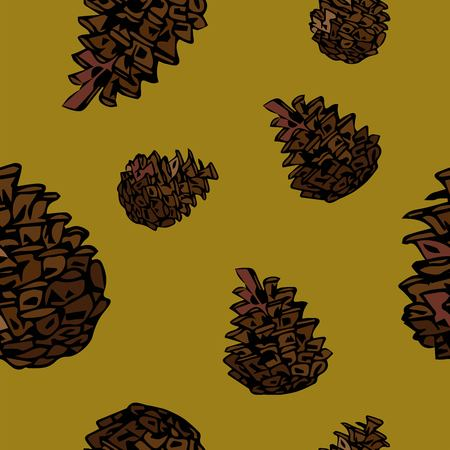 Pine pattern in sketch style. Textile design. Ilustração