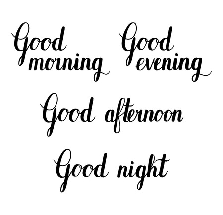morning night: Good morning, afternoon, evening, night. Vector ink hand lettering quote background. Illustration