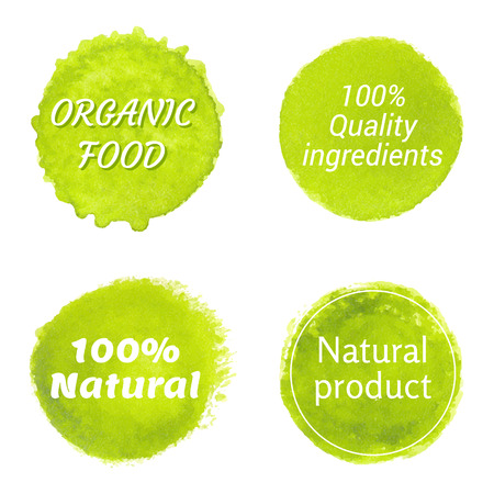 Natural organic labels on white background. Hand drawn stains set.