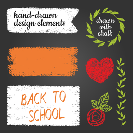 Hand drawn abstract paint brush strokes. Vector set of Back to school with blackboard,heart,branch and flower.