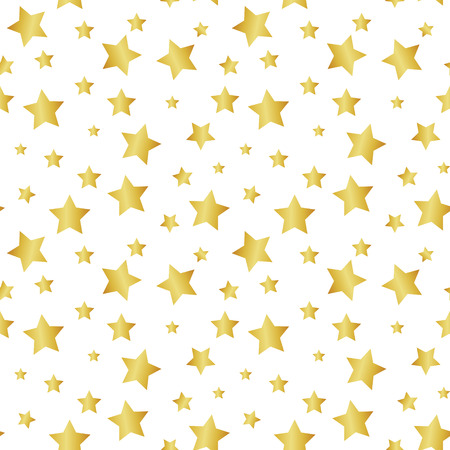 Seamless pattern with gold stars. Vector abstract gold background.