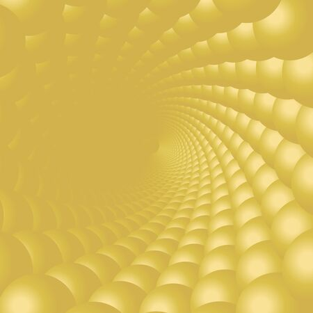 Abstract spiral background illustration. Vector gold bubbles. Vettoriali