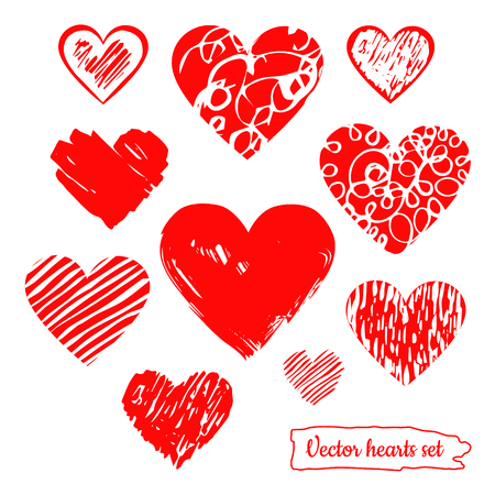 heart hand: Hand drawn vector red hearts set.