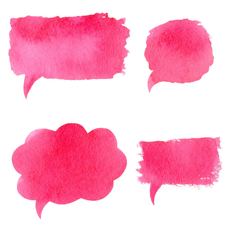 chat: Vector collection of pink watercolor speech bubbles, rectangles, shapes on white background. Hand drawn paint stains set.