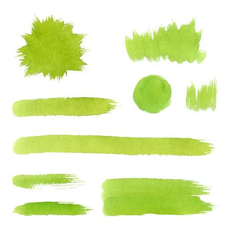 Vector groene natuurlijke waterverf, organisch, bio, ecolabels en vormen, slagen, gras op witte achtergrond. Hand getrokken vlekken set.
