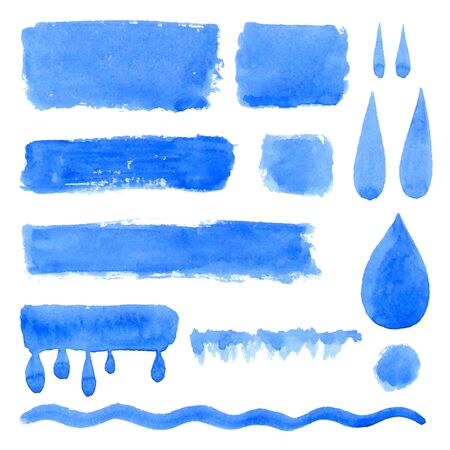 Vector collection of natural blue watercolor labels, shapes, drops, rectangles on white background. Hand drawn water drops, painted stains set. Illustration