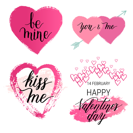 Happy Valentines Day, Be mine, You and me, Kiss me greeting cards, posters with watercolor hand drawn stain, hearts. Vector background with hand lettering. Set.