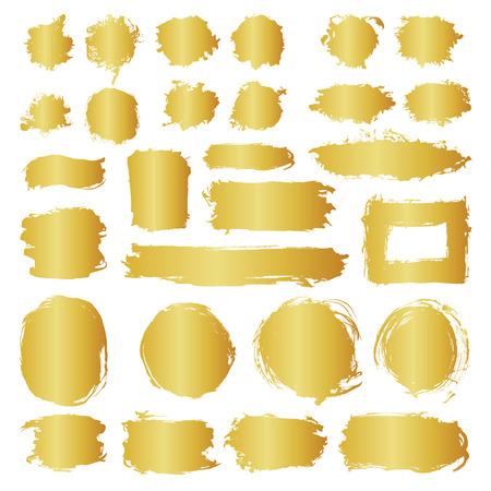 Mega-collectie van handgetekende gouden gradiënt abstracte verfborstelslagen. Vector set van vormen, frames geïsoleerd op een witte achtergrond. Ronde, ovale, cirkel, rechthoek, grenselementen voor ontwerp. Stock Illustratie