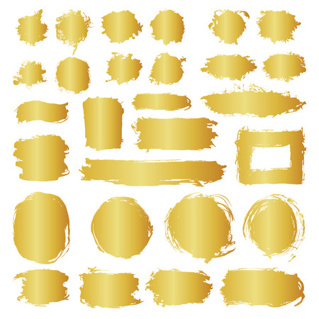 Mega collection of hand drawn golden gradient abstract paint brush strokes. Vector set of shapes, frames isolated on white background. Round, oval, circle, rectangle, border elements for design.