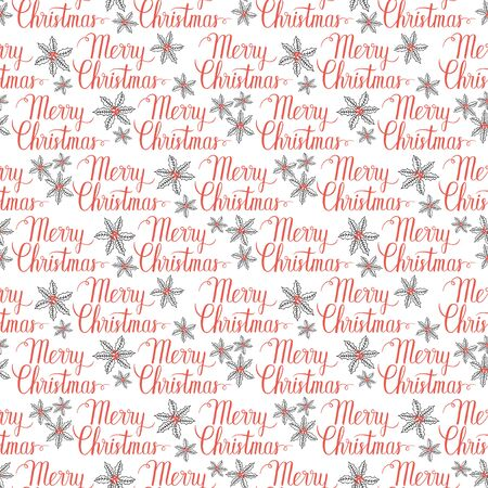 xmax: Winter Holiday seamless pattern with Merry Christmas hand lettering and mistletoe. Vector background for christmas packaging. Illustration