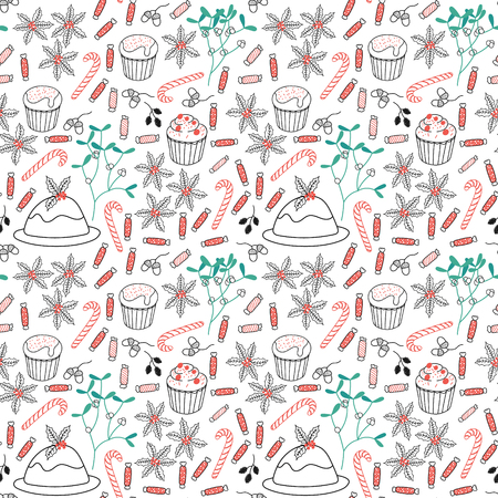 xmax: Winter Holiday seamless pattern with mistletoe, cakes, pie, candy, sweet. Vector background for christmas packaging. Illustration