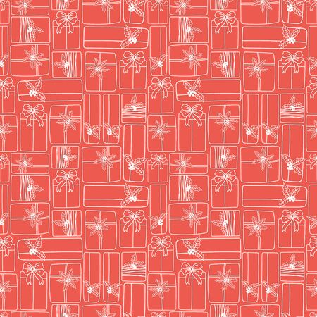 xmax: Winter Holiday seamless pattern with gifts. Vector background for christmas packaging.