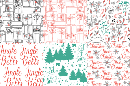 let it snow: Winter Holiday seamless pattern with Jingel Bells, Merry Christmas, Let it snow hand lettering and gifts, bears, trees, snowflakes, mistletoe, cakes, pie. Vector background for christmas packaging.