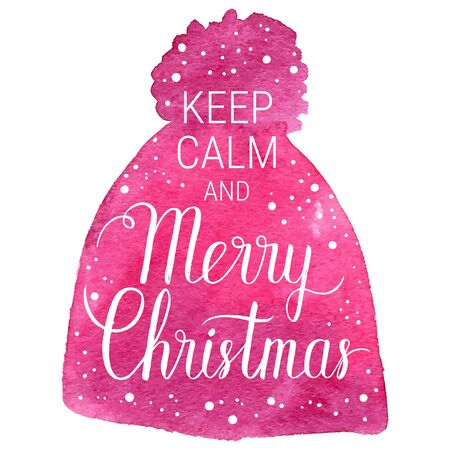 xmax: Keep calm and Merry Christmas poster. Vector winter holidays background with hand lettering, snowflakes, falling snow. Hand drawn watercolor red knitted hat.